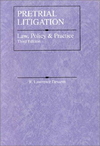 9780314254375: Pretrial Litigation: Law, Policy and Practice (American Casebook Series)