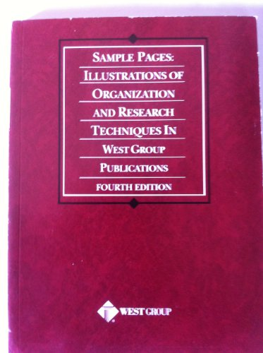 9780314260406: Sample Pages: Illustrations of Organization and Research Techniques in West Group's
