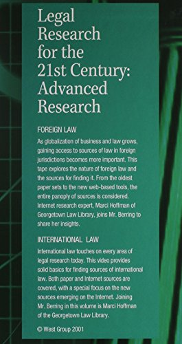 Berring's Legal Research for the 21st Century:Adv Research 6-7: Interna Law and Foreign Law (VHS) (0314260803) by Berring, Robert; Hoffman, Marci