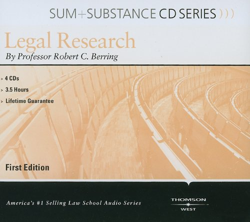 9780314261793: Legal Research (Sum + Substance CD Series) (Outstanding Professor Series)