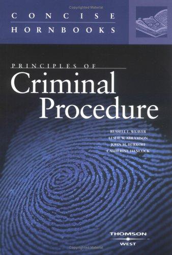 9780314262516: Principles of Criminal Procedure (Concise Hornbook Series) (Hornbook Series Student Edition)