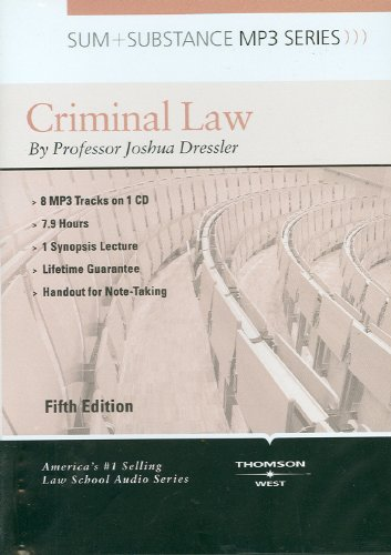 9780314266903: Sum and Substance Audio on Criminal Law, 5th (CD) (Sum + Substance)