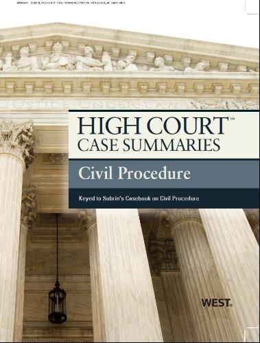9780314282538: High Court Case Summaries on Civil Procedure, Keyed to Subrin