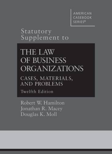 9780314288639: The Law of Business Organizations (Statutory Supplement) (American Casebook Series)