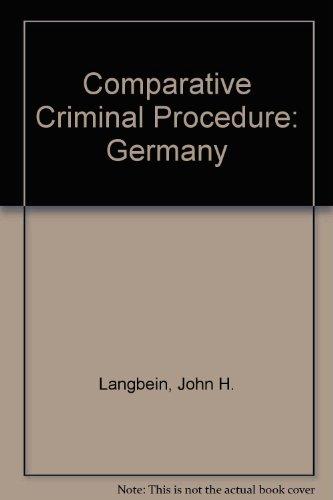 9780314329950: Comparative Criminal Procedure: Germany