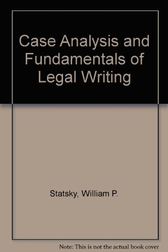9780314437549: Case Analysis and Fundamentals of Legal Writing