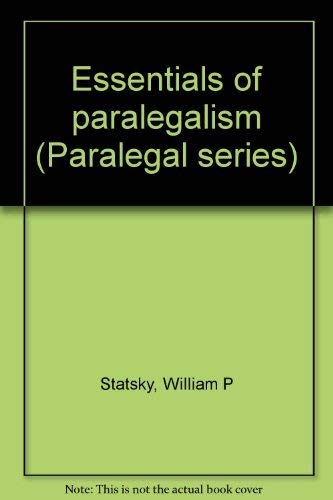 9780314593627: Title: Essentials of paralegalism Paralegal series
