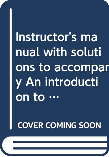 Instructor's manual with solutions to accompany An: Anderson, David Ray
