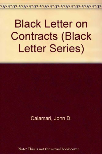 9780314733054: Contracts (Black Letter Series)