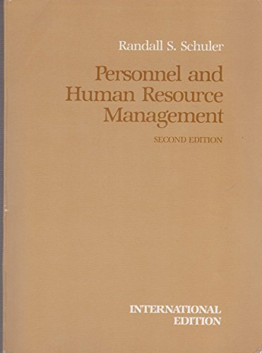 Personnel and human resource management (The West series in management) (9780314777874) by Randall S Schuler