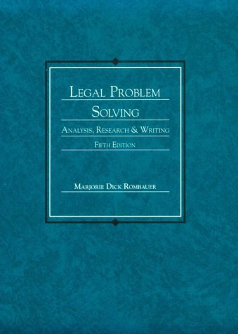 9780314842435: Legal Problem Solving: Analysis, Research, and Writing (American Casebook Series)