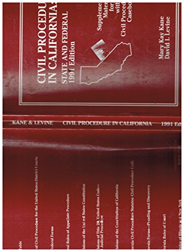 9780314867148: Civil Procedure in California: State and Federal Supplemental Materials for Use With All Civil Procedure Casebooks (American Casebook Series)