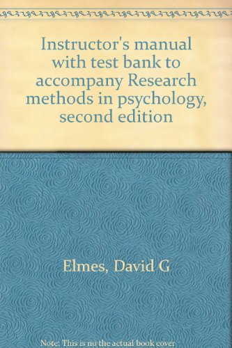 9780314871046: Instructor's manual with test bank to accompany Research methods in psychology, second edition
