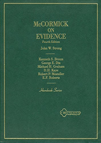 9780314903501: McCormick on Evidence (Hornbook Series)