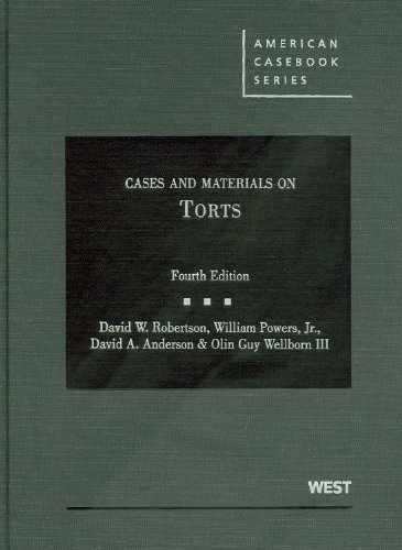 9780314906878: Cases and Materials on Torts (American Casebook Series)