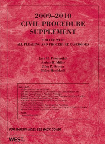 9780314911391: 2009 Civil Procedure Supplement for use with all Pleading and Procedure Casebooks (American Casebooks)