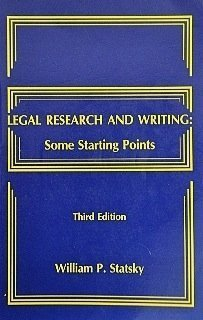 9780314912633: Legal research and writing: Some starting points