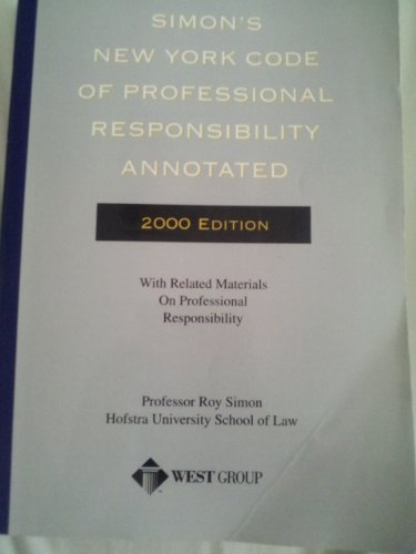 9780314975744: Simon's New York Code of Professional Responsibility Annotated