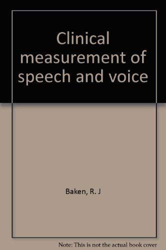 9780316078337: Clinical measurement of speech and voice