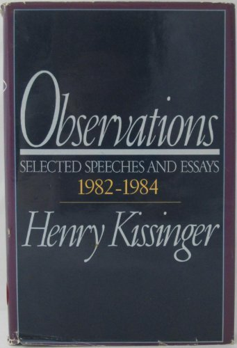 9780316496643: Observations: Selected Speeches and Essays 1982-1984