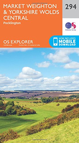 9780319245460: Market Weighton and Yorkshire Wolds Central (OS Explorer Active Map)