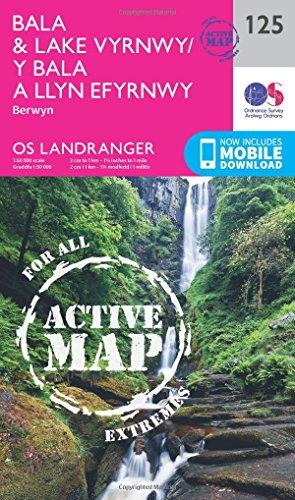 Landranger Active (125) Bala & Lake Vyrnwy, Berwyn (OS Landranger Active Map) (Map)
