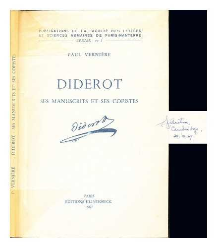Diderot - Ses Manuscrits et Ses Copistes (French Edition): Paul Verniere