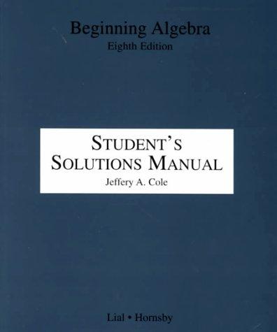 9780321061959: Beginning Algebra Student's Solutions Manual