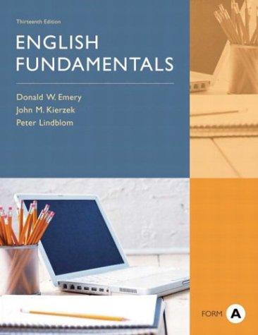 9780321103581: English Fundamentals, Form A, 13th Edition