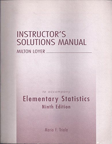 9780321122124: Elementary Statistics: Instructor's Solutions Manual