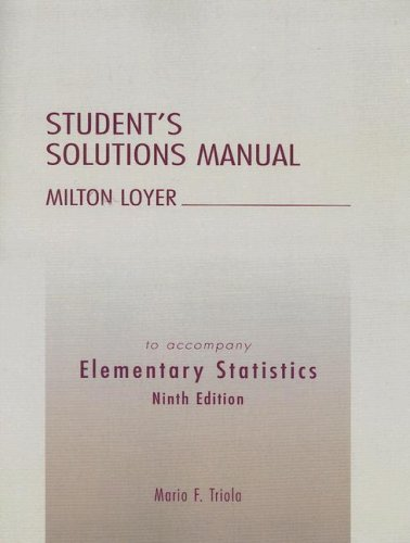 9780321122179: Elementary Statistics Student's Solutions Manual (9th Edition)