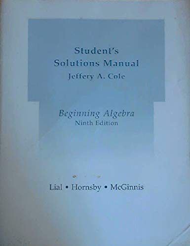 Students Solutions Manual: Margaret Lial