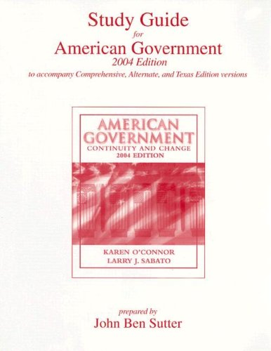 9780321186881: Study Guide for American Government: Continuity and Change
