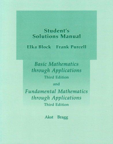 Student's Solutions Manual: Geoffrey Akst, Sadie