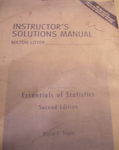 9780321229106: Instructor's Solution Manual to accompany Essentials of Statistics