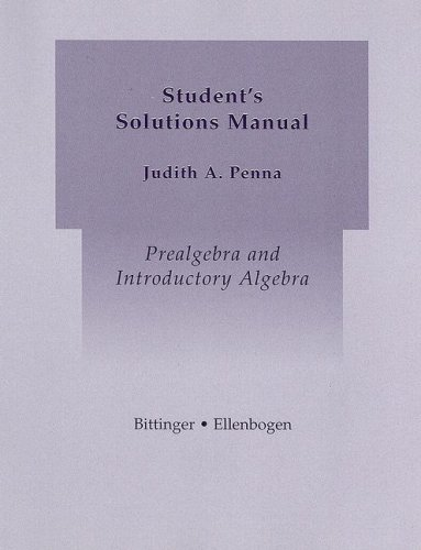 9780321255860: Prealgebra and Introductory Algebra Student's Solutions Manual
