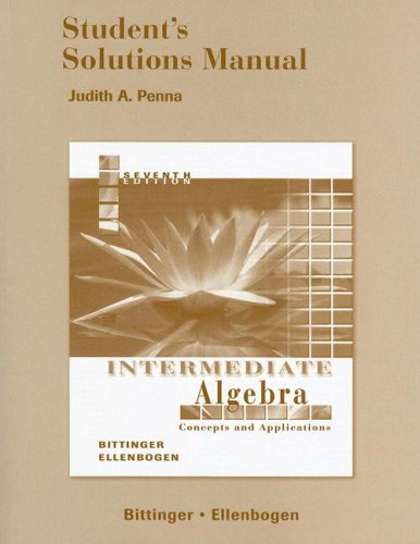 9780321278227: Student's Solutions Manual to accompany Intermediate Algebra: Concepts & Applications, 7th Edition