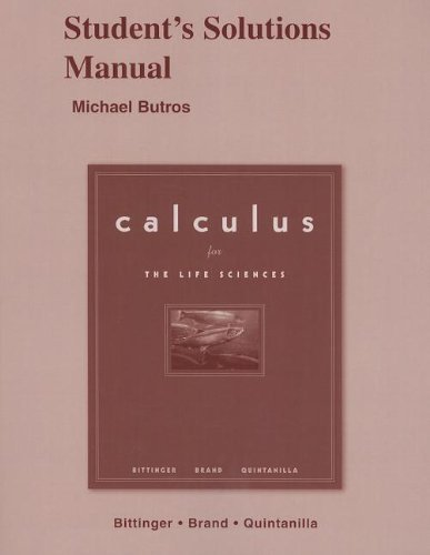 9780321286055: Calculus for the Life Sciences - Student's Solutions Manual