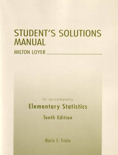 9780321369185: Elementary Statistics:Elementary Statistics Student's Solutions Manual (10th Edition)