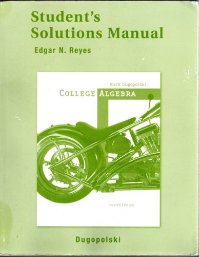 9780321370914: Student's Solutions Manual: College Algebra, 4th Edition