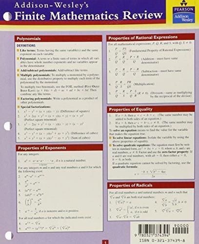 9780321374394: Finite Mathematics Study Card