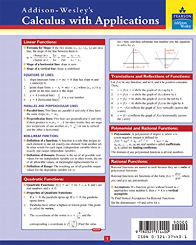 9780321374400: Applied Calculus Study Card
