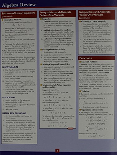 Algebra Review Study Card (2nd Edition): D'Ippolito, Frank; Generazzo,