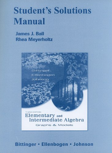 9780321429063: Student Solutions Manual for Elementary and Intermediate Algebra: Graphs & Models