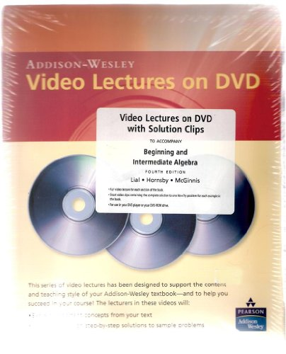 9780321449535: Video Lectures on DVD with Solution Clips for Beginning and Intermediate Algebra