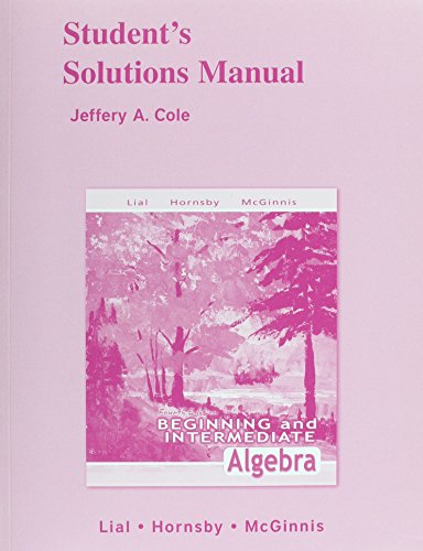 9780321449542: Student Solutions Manual for Beginning and Intermediate Algebra