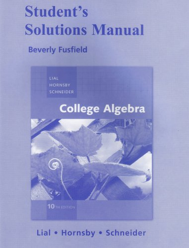 9780321528865: Student Solutions Manual for College Algebra