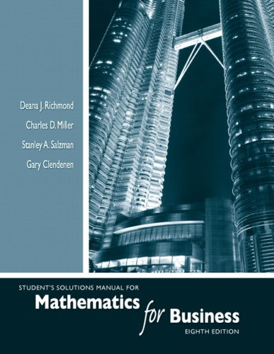 9780321543042: Student's Solutions Manual for Mathematics for Business