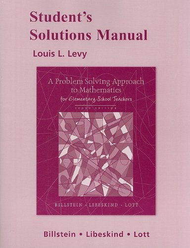 9780321569271: Student Solutions Manual for A Problem Solving Approach to Mathematics for Elementary School Teachers