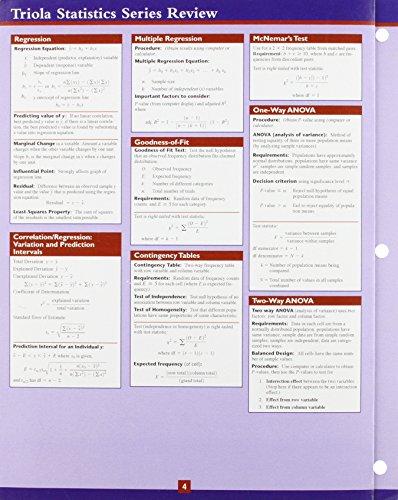 9780321570802: Statistics Study Card for the Triola Statistics Series